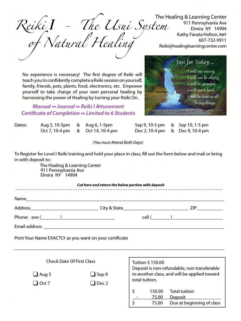 Reiki healing learning center the registration form by clicking here and mail in your registration form with a payment please make your check out and mail to the healing learning buycottarizona Choice Image